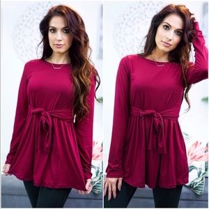 Burgundy Red babydoll brushed tie in front top